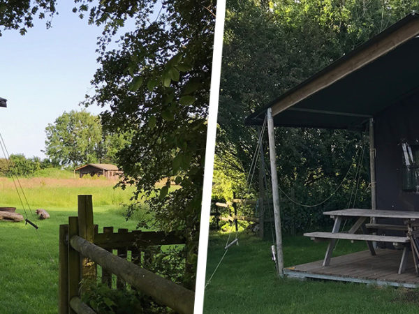 A view of the canvas lodges at Warren farm