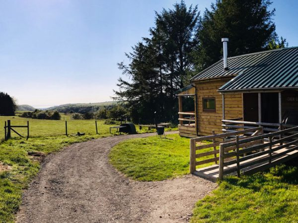 Outdoor view of the Deerleap Wooden Lodge at Warren farm