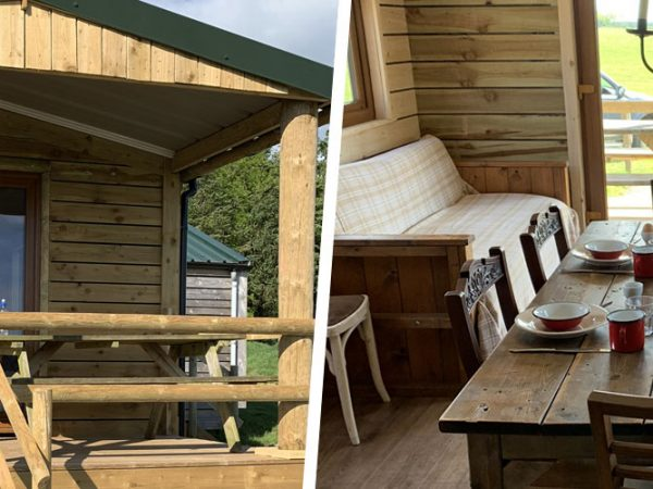 Outdoor and indoor views of the Rookham Wooden Lodge at Warren farm