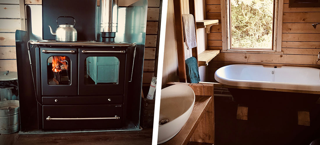 The Rookham Wooden Lodge kitchen and bathroom