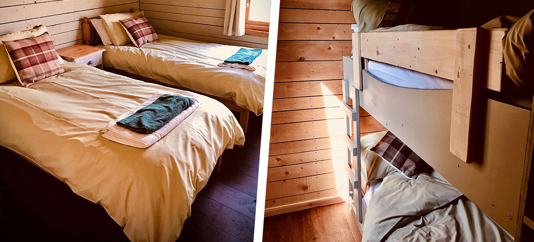 The Rookham Wooden Lodge bedrooms